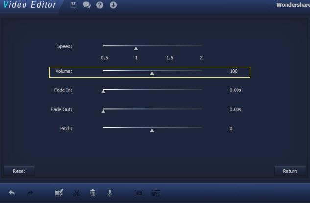 cambiare volume video